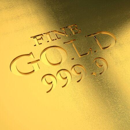 gold background: gold ingot detail 3d image Stock Photo