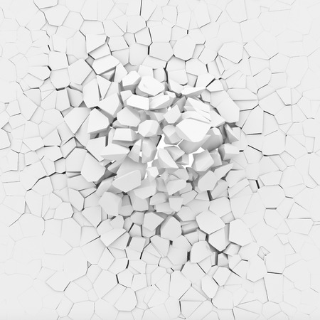 broken wall: 3d image of broken white wall