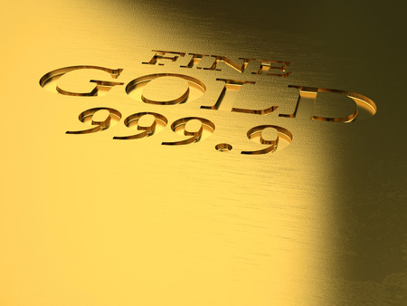 detail: gold ingot detail 3d image Stock Photo