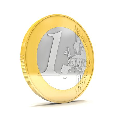 weak: 3d  euro coin on white background