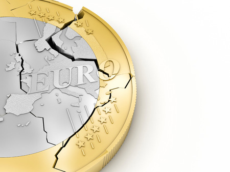 destroy: 3d broken euro coin on white background