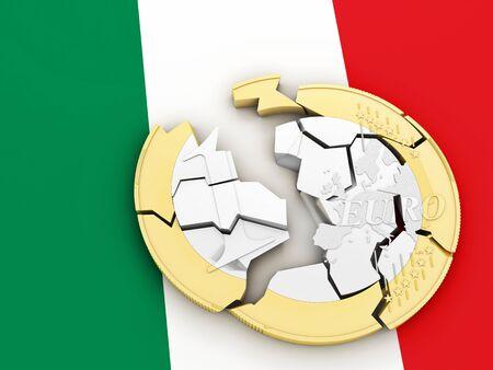 crisis: 3d broken euro coin on italian flag