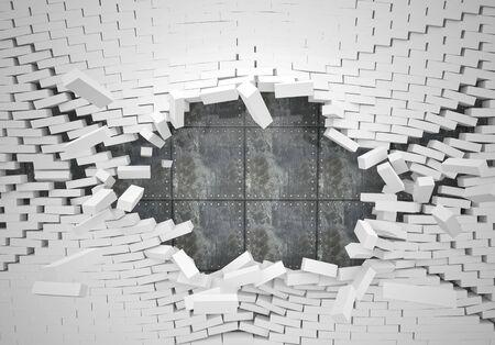 pared rota: ladrillo blanco destruir la pared y la placa metálica blindada