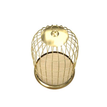 birdcage: 3d golden birdcage on white background Stock Photo