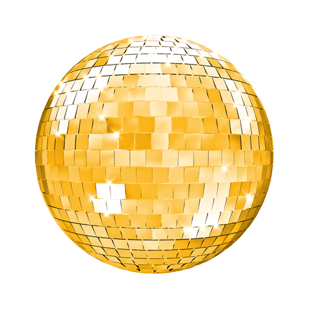 mirror ball: golden disco mirror ball 3d image Stock Photo