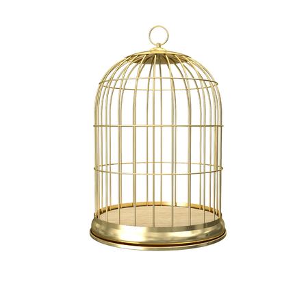 deprived: 3d golden birdcage on white background Stock Photo