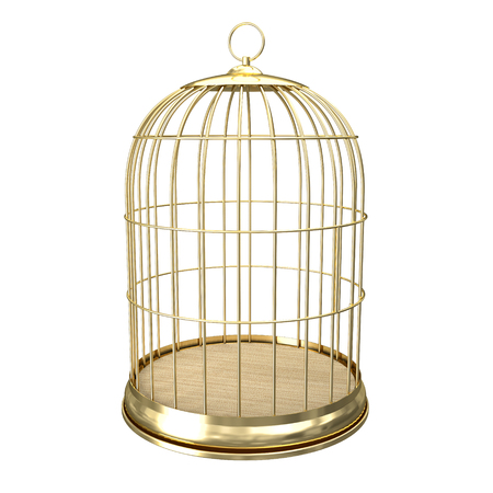 deprived: 3d golden birdcage on white background Stock Photo