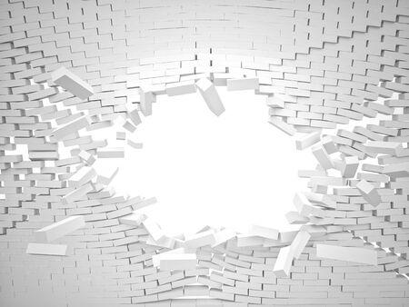 3d distruggere muro di mattoni bianchi Archivio Fotografico