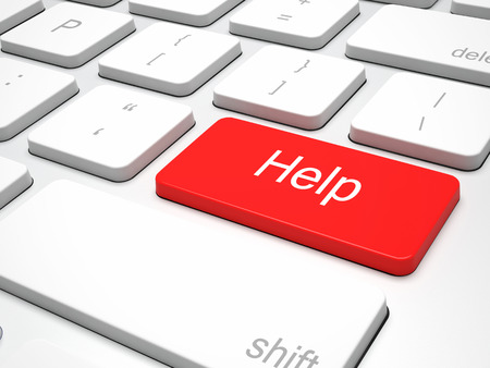 red button: help red button on keyboard Stock Photo
