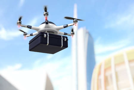 transports: modern drone with case and town background Stock Photo
