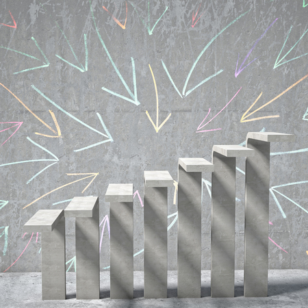 concrete stairs: arrow background of concrete stair Stock Photo