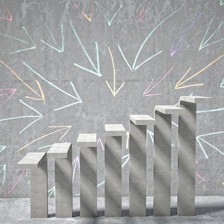 concrete background: arrow background of concrete stair Stock Photo
