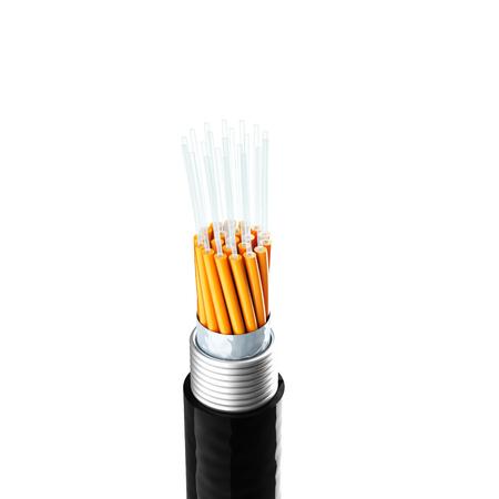 fiberoptics: 3d image of optical fiber cable