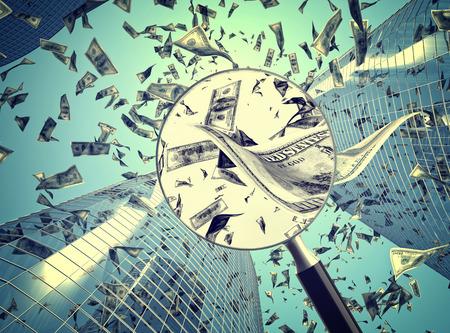 falling money: dollar rain and skyscraper background Stock Photo