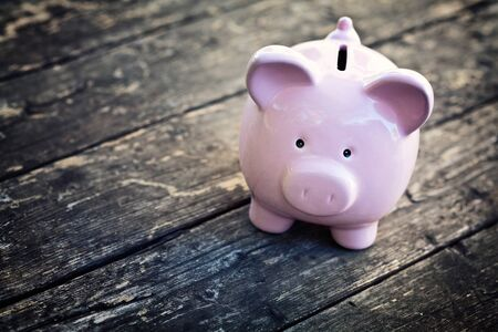 business savings: close up of classic piggybank money safer