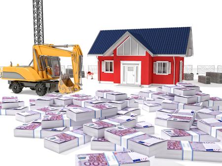 buildingsite: house escavator and dollars money 3d Stock Photo