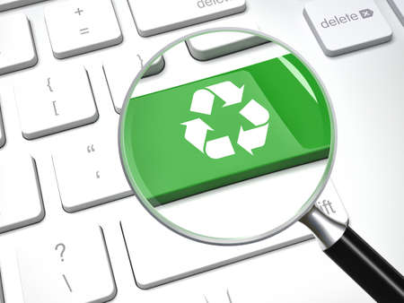 enviroment: 3d magnifier lens and recycling keyboard Stock Photo