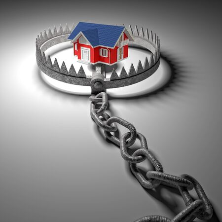 bear trap: 3d model house and classic bear trap Stock Photo