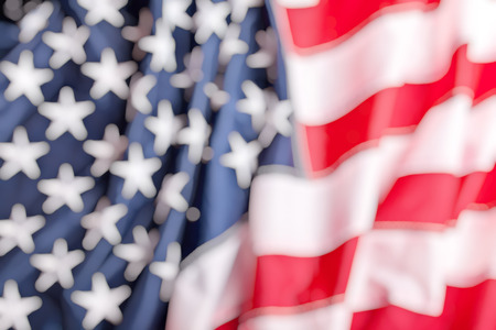 usa: detail of old glory american flag blurry background Stock Photo
