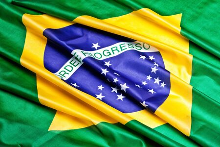 real: real fabric flag of brazil Stock Photo