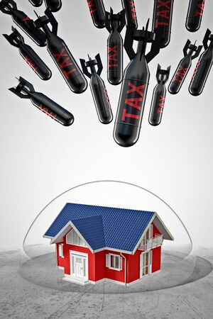crystall: 3d image of house under protection bubble and tax rocket Stock Photo