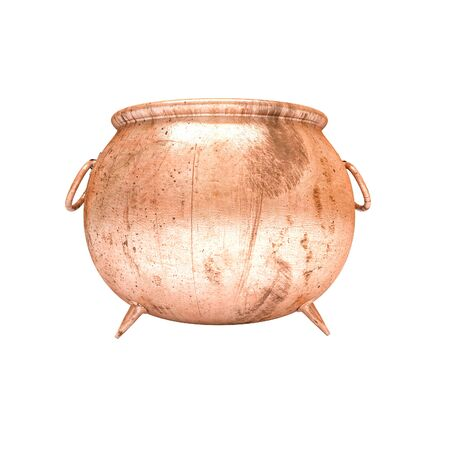 3d image of copper pot on white