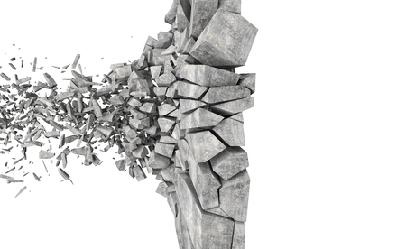 3d image of concrete wall explosion