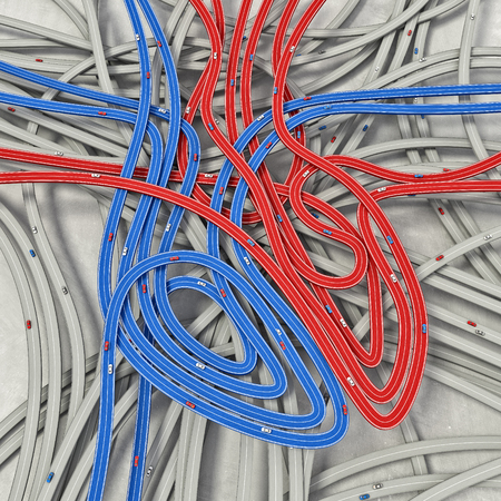 3d image of heart concept made by road