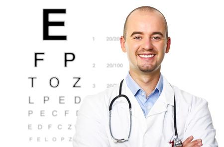 medical career: smiling portrait of smiling optometrist on white