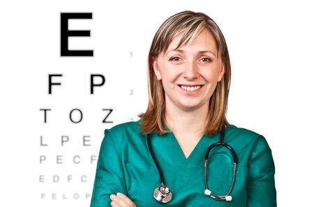 optometrist: smiling portrait of smiling optometrist on white