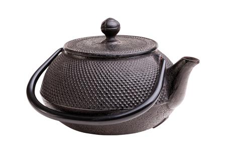 tetsubin: classic japanese iron kettle on white Stock Photo