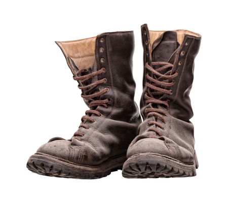 combat boots: old combat boots isolated on white