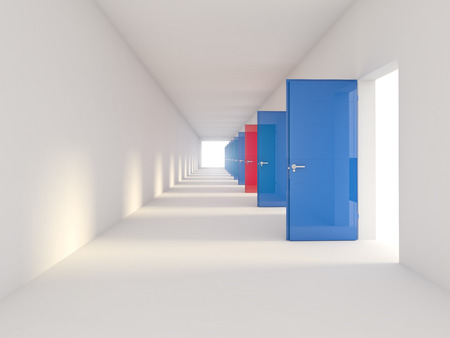 choise: 3d image of blue and red doors
