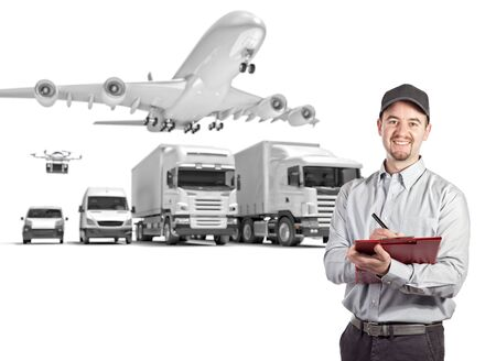 delivery man and 3d truck airplane van drone