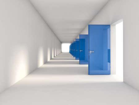 3d open blauwe deuren achtergrond Stockfoto