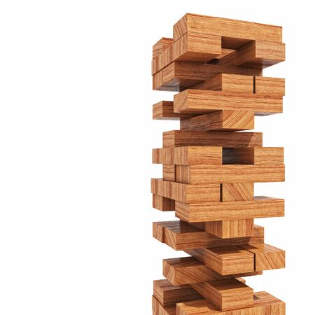 tower block: wood blocks tower toy isolated on white 3d image