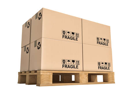 fragile industry: pallet and boxes isolated on white background