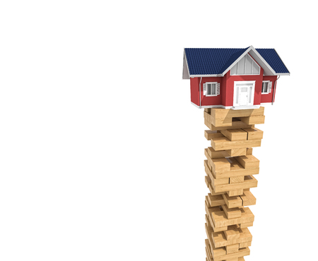 tower house: house on wood tower block isolated on white