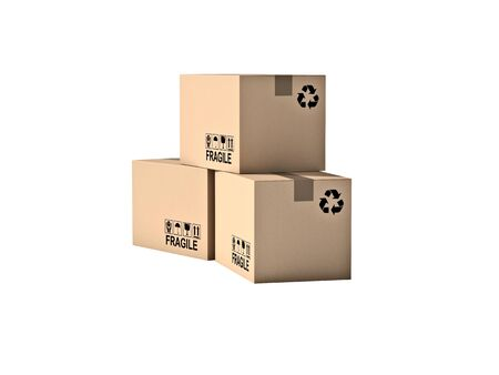 recycling symbols: pallet and boxes isolated on white background
