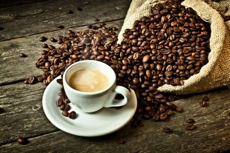 colombian food: real espresso and coffee grain