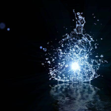 frescura: concepto de salpicaduras de agua fondo oscuro