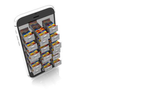 drawer: 3d smartphone and file folder drawer