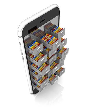 folders: 3d smartphone and file folder drawer