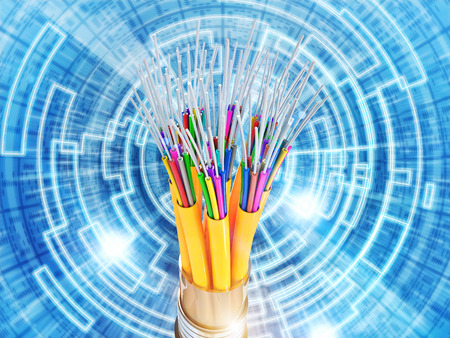 optical fiber: binary code and optical fiber background