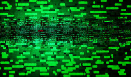 green binary code and red virus text tech background Stock Photo