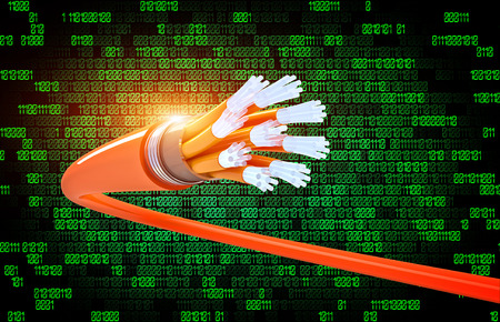 optical fiber: optical fiber and binary code background Stock Photo