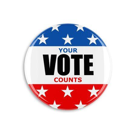 vote button: 3d usa vote button on white background Stock Photo