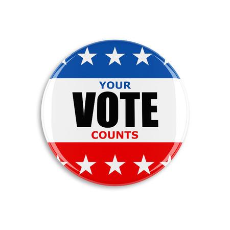 3D USA przycisk zagłosuj na białym tle Zdjęcie Seryjne