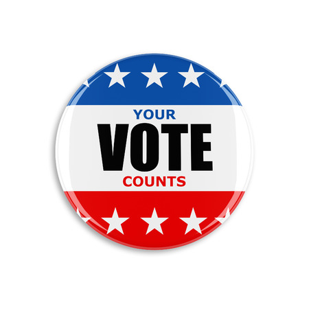 3d usa vote button on white background Stockfoto