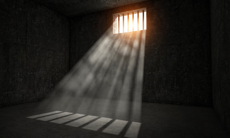 jail: windows jail and sun rays 3d image Stock Photo